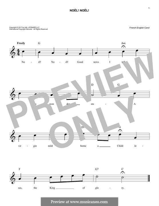 Noel! Noel!: Melody line by folklore