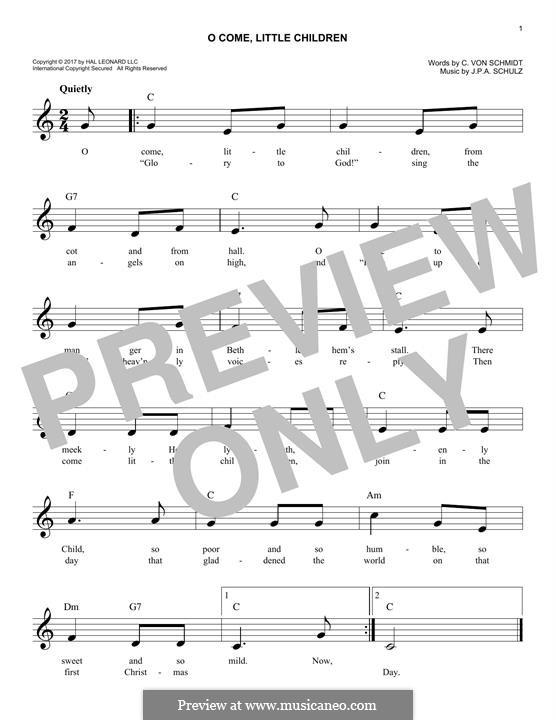 O Come, Little Children: Melody line by Johann Abraham Schulz