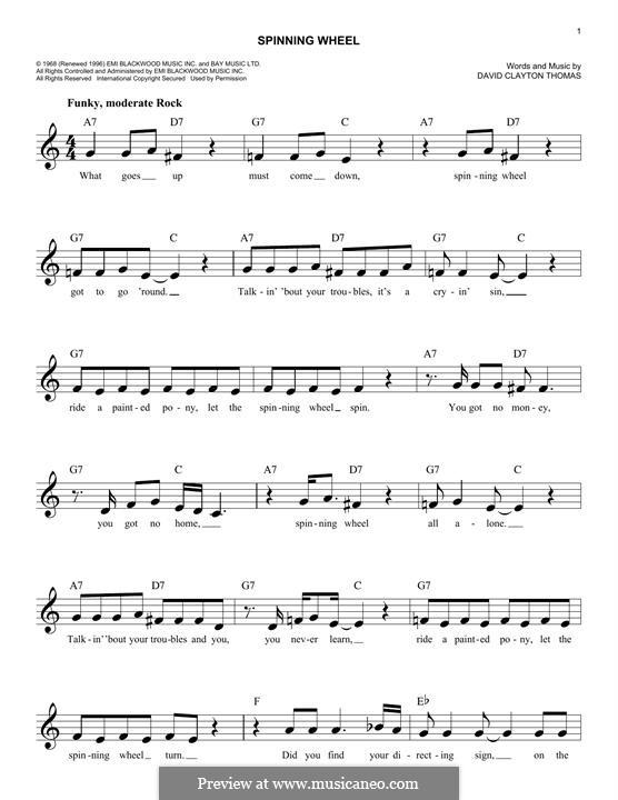 Spinning Wheel (Blood, Sweat & Tears): Melody line by David Clayton Thomas