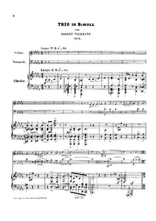 Piano Trio No.2 in B Flat Minor, Op.5: Full score, parts by Robert Volkmann