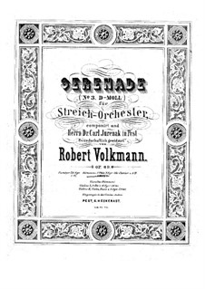 Serenade for String Orchestra No.3, Op.69: Parts by Robert Volkmann