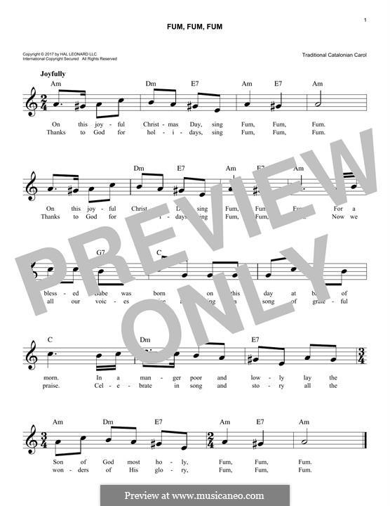 Fum, Fum, Fum: Melody line by folklore