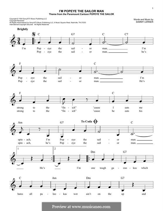 I'm Popeye the Sailor Man (from the Paramount Cartoon Popeye the Sailor): Melody line by Sammy Lerner