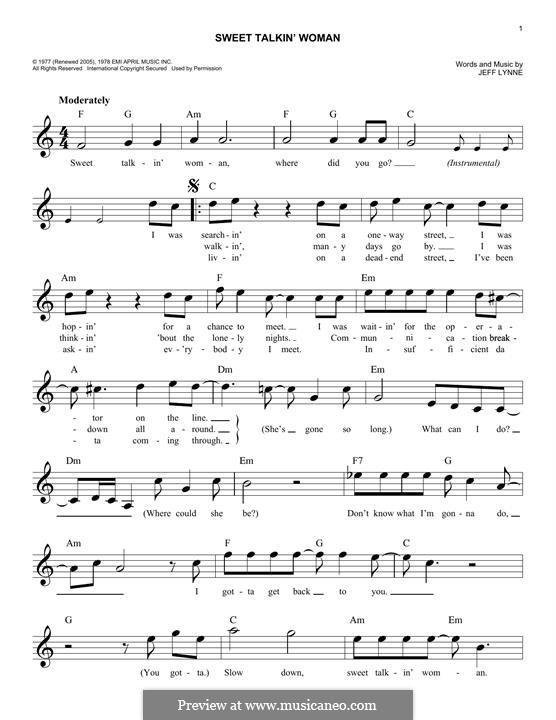 Sweet Talkin' Woman (Electric Light Orchestra): Melody line by Jeff Lynne