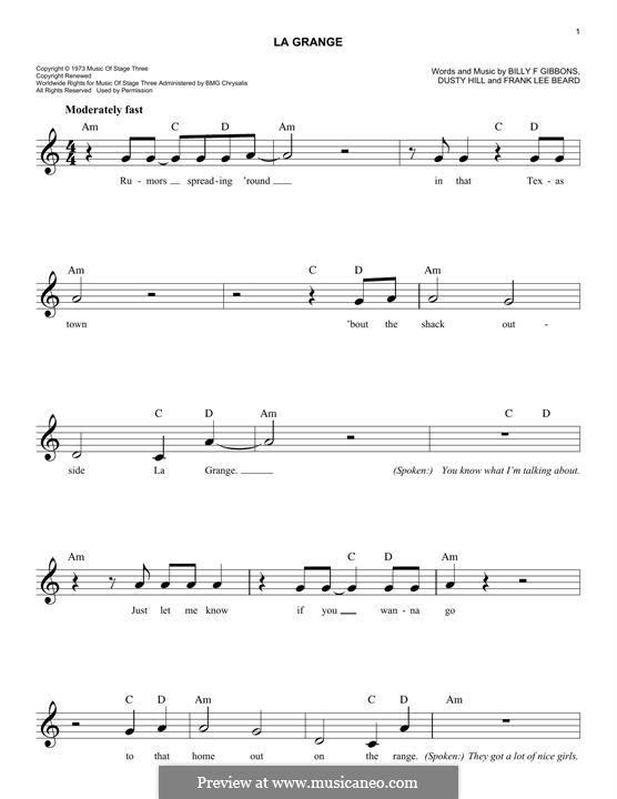 La Grange (ZZ Top): Melody line by Billy F Gibbons, Dusty Hill, Frank Lee Beard