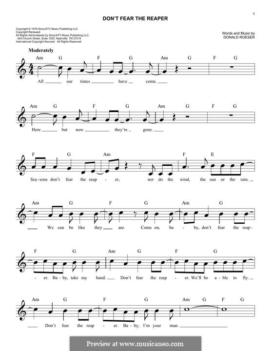 Don't Fear / The Reaper (Blue Oyster Cult): Melody line by Donald Roeser