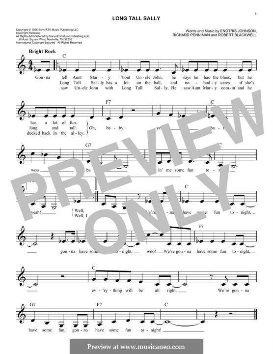 Long Tall Sally: Melody line by Little Richard, Enotris Johnson, Robert A. Blackwell