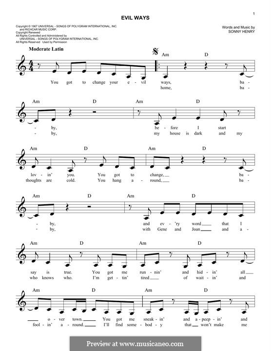 Evil Ways Santana By S Henry Sheet Music On Musicaneo