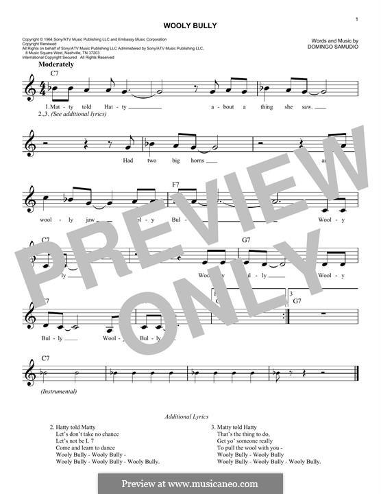 Wooly Bully (Sam the Sham & The Pharaohs): Melody line by Domingo Samudio