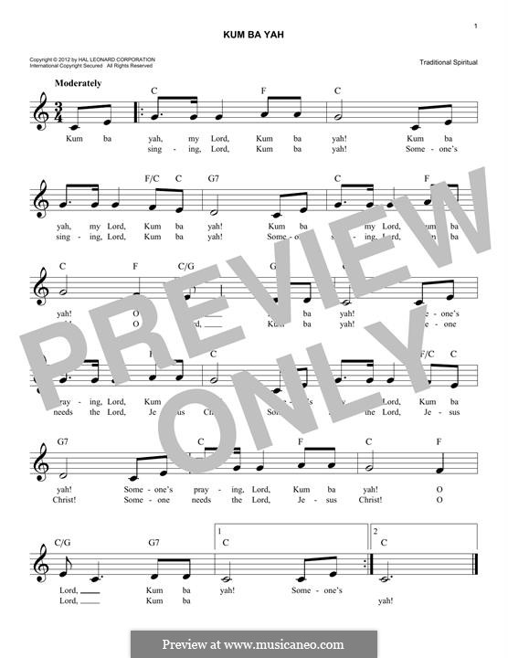 Kumbaya (Kum Ba Yah): Melody line by folklore