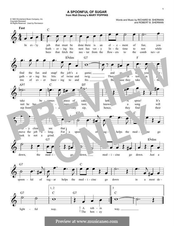 A Spoonful of Sugar: Melody line by Richard M. Sherman, Robert B. Sherman