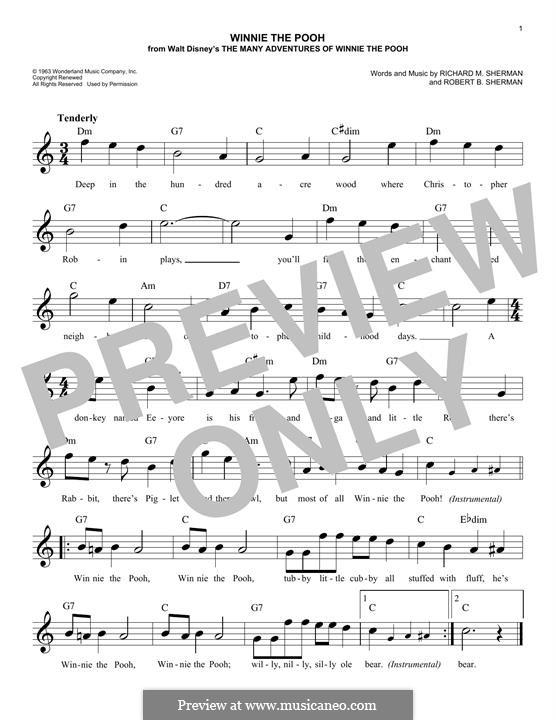 Winnie the Pooh: Melody line by Richard M. Sherman, Robert B. Sherman