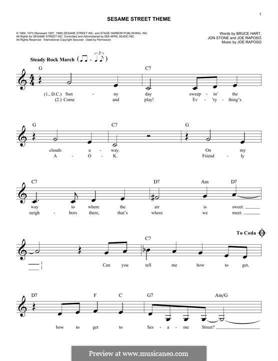Sesame Street Theme: Melody line by Joe Raposo