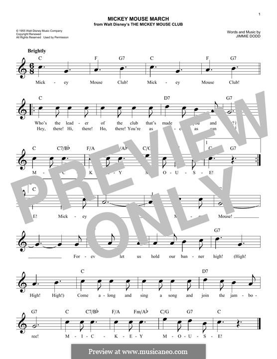 Mickey Mouse March: Melody line by Jimmie Dodd