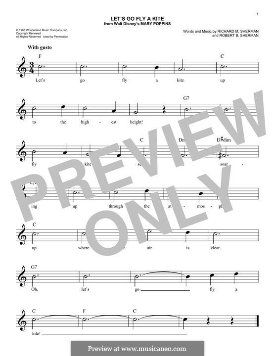 Let's Go Fly a Kite: Melody line by Richard M. Sherman, Robert B. Sherman