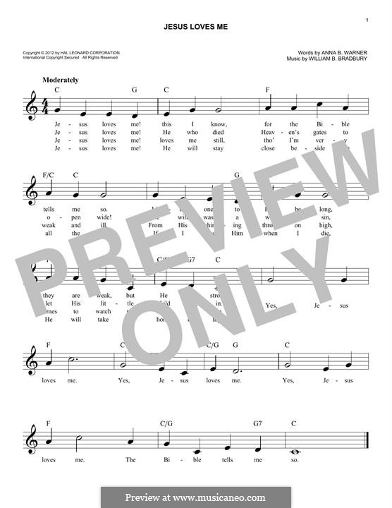 Jesus Loves Me: Melody line by William Batchelder Bradbury