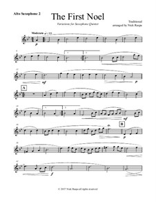 The First Noel. Variations: For saxophone quintet – alto sax 2 part by folklore