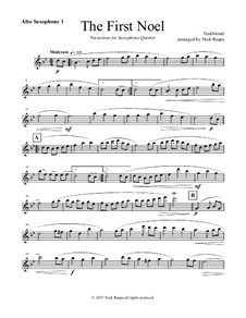 The First Noel. Variations: For saxophone quintet – alto sax 1 part by folklore