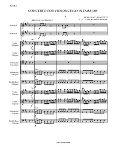Cello Concerto in D major: Full score by Domenico Lanzetti