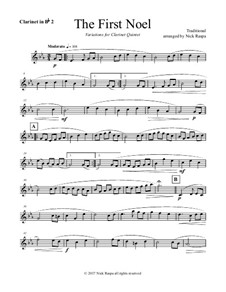 The First Noel. Variations: For clarinet quintet – Bb clarinet 2 part by folklore