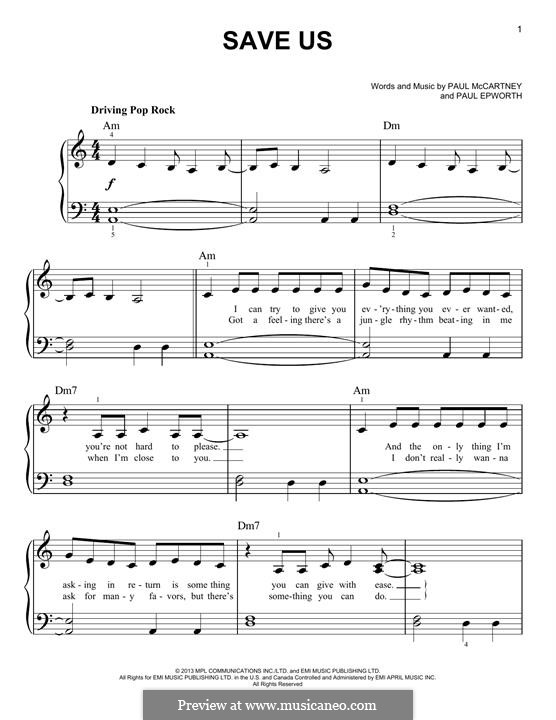 Save Us: For piano by Paul Epworth, Paul McCartney