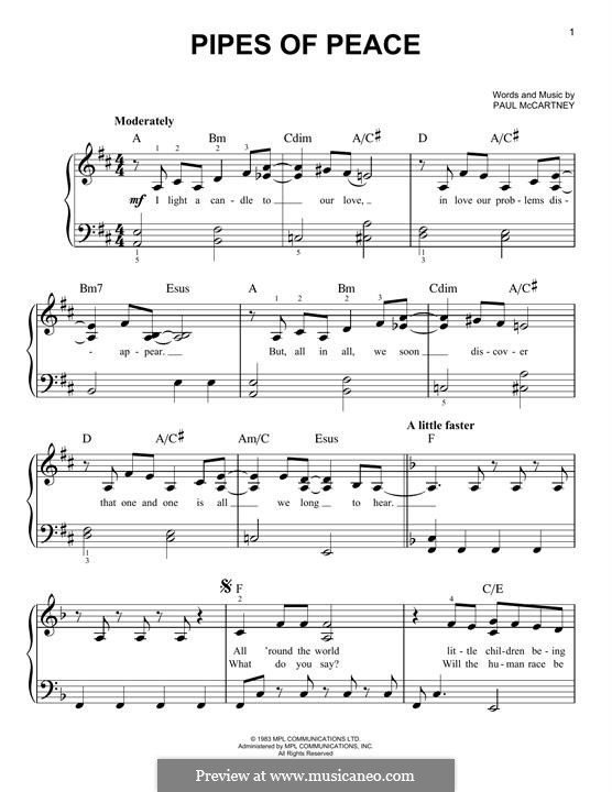 Pipes of Peace: For piano by Paul McCartney