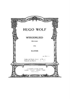 Cradle Song (Berceuse): For violin or cello and piano by Hugo Wolf