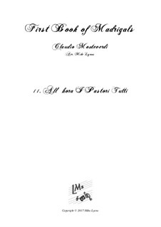 Book 1 (a cinque voci), SV 23–39: No.11 All'hora i pastori tutti. Arrangement for quintet instruments by Claudio Monteverdi