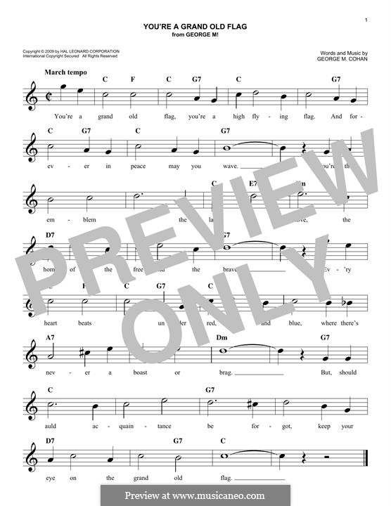 You're a Grand Old Flag: Melody line by George Michael Cohan