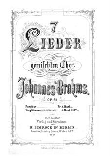 Seven Songs, Op.62: Complete set by Johannes Brahms