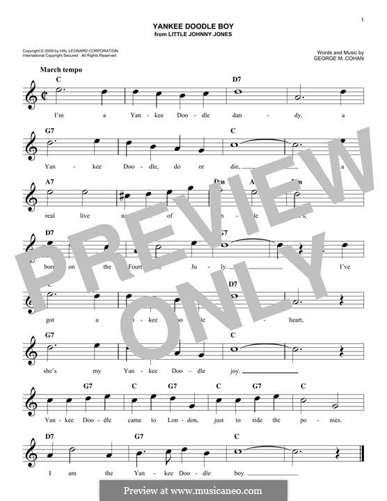 Yankee Doodle Boy: Melody line by George Michael Cohan