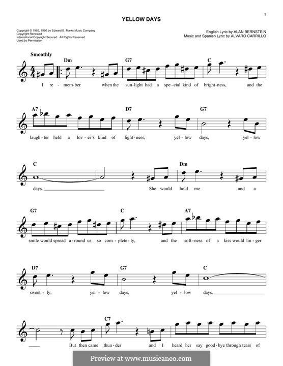 Yellow Days (Frank Sinatra): Melody line by Alan Bernstein, Alarcon Carrillo