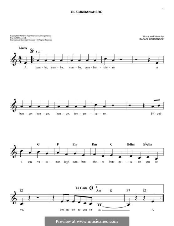 El Cumbanchero: Melody line by Rafael Hernandez