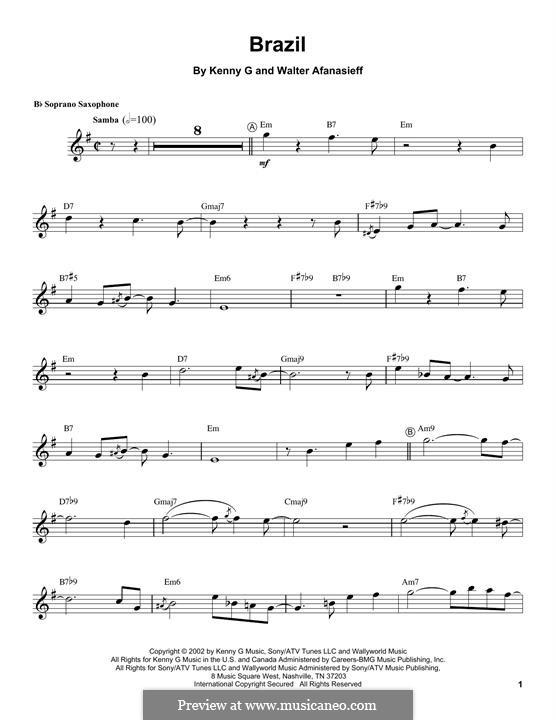 Brazil: For soprano saxophone by Kenny G., Walter Afanasieff