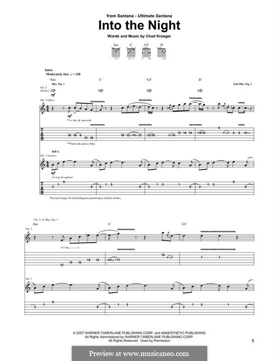 Into the Night (Santana): For guitar with tab by Chad Kroeger