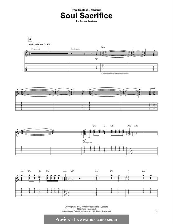 Soul Sacrifice (Santana): For guitar with tab by Carlos Santana