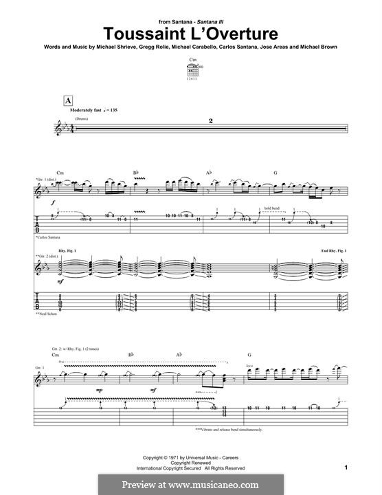 Toussaint l'Overture (Santana): For guitar with tab by Gregg Rolie, Michael Carabello, Michael Shrieve
