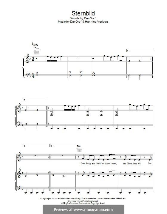 Sternbild (Unheilig): For voice and piano (or guitar) by Der Graf, Henning Verlage