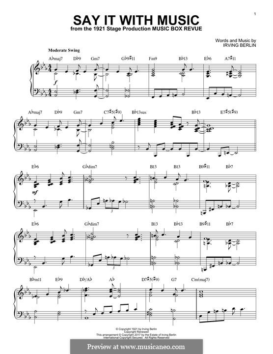 Say It with Music: For piano by Irving Berlin