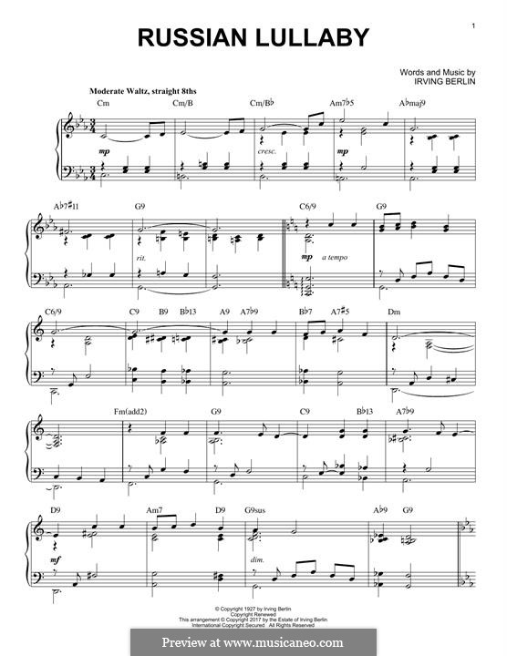 Russian Lullaby: For piano (jazz version) by Irving Berlin