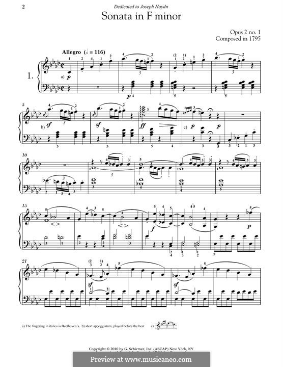 Three Sonatas for Piano, Op.2: Sonata No.1 by Ludwig van Beethoven