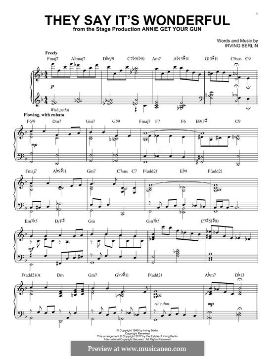 They Say It's Wonderful: For piano (jazz version) by Irving Berlin