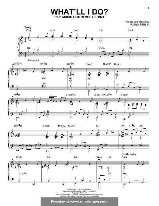 What'll I Do? (from Music Box Revue of 1924): For piano (jazz version) by Irving Berlin