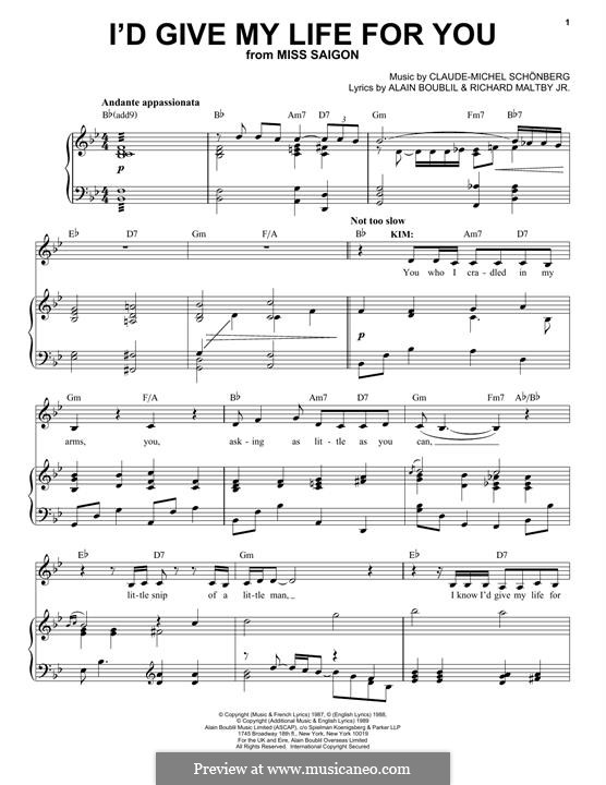 I'd Give My Life for You: For voice and piano by Claude-Michel Schönberg