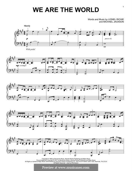We Are the World (USA for Africa): For piano by Lionel Richie, Michael Jackson