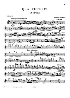 String Quartet No.4 in E Minor, B.19: Violin I part by Antonín Dvořák
