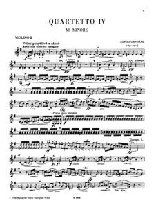 String Quartet No.4 in E Minor, B.19: Violin II part by Antonín Dvořák