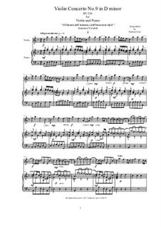 Violin Concerto No.9 in D Minor, RV 236: Version for violin and piano by Antonio Vivaldi