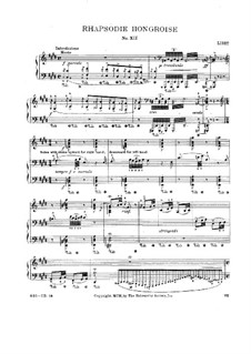 No.12 in C Sharp Minor, for Piano, S.244: For a single performer by Franz Liszt
