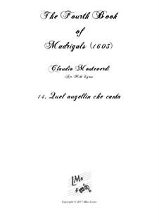 Book 4 (a cinque voci), SV 75–93: No.14 Quel augellin che canta. Arrangement for quintet instruments by Claudio Monteverdi